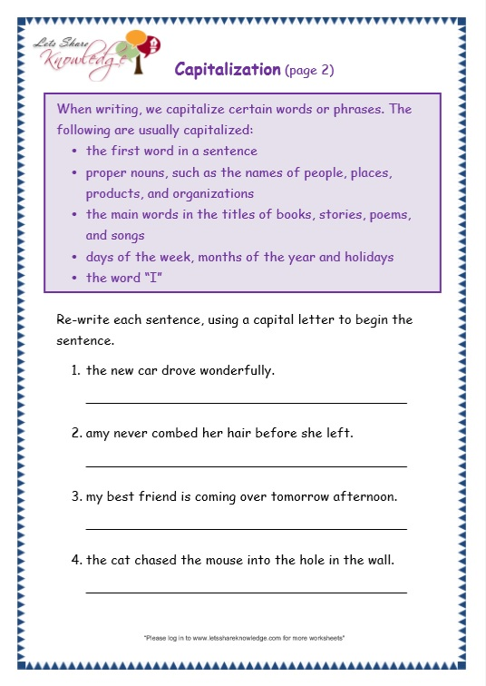 Workbooks Capitalization Worksheets Grade 2 Printable – Capitalization Worksheets Middle School