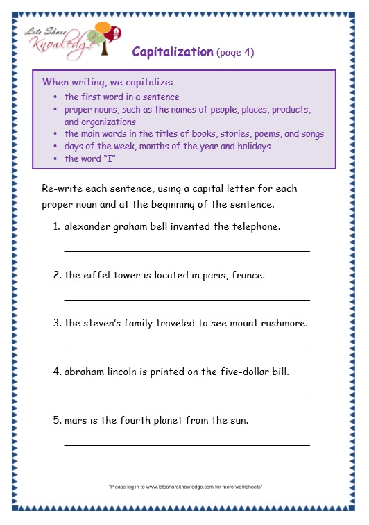 Capitalization worksheets grade 4