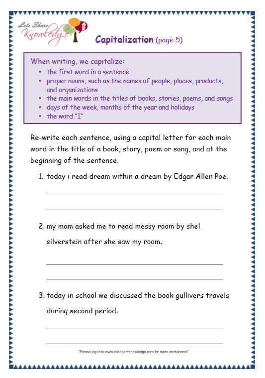 Capitalization worksheets 5th grade pdf