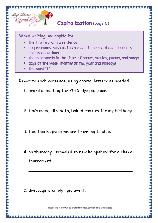 page 6 capitalization worksheet