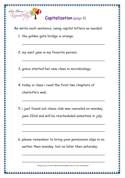 Grade 3 Grammar Topic 29: Capitalization Worksheets