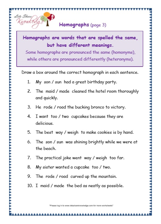 Grade 3 Grammar Topic 25: Homographs Worksheets - Lets Share ...