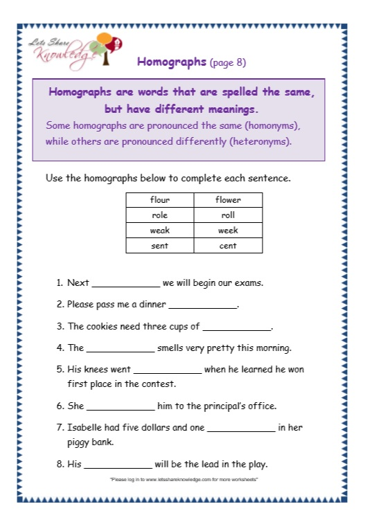 Grade 3 Grammar Topic 25: Homographs Worksheets - Lets ...