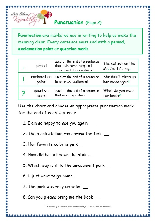 page 2 punctuation worksheet