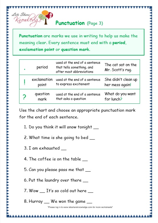 page 3 punctuation worksheet