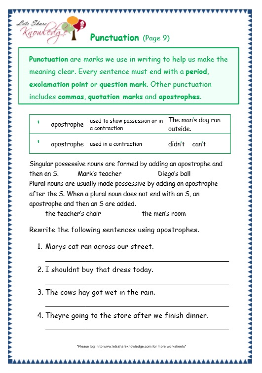 Grade 3 Grammar Topic 30: Punctuation Worksheets - Lets Share ...