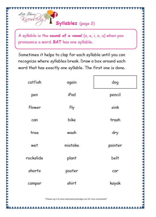 Syllable worksheets first grade