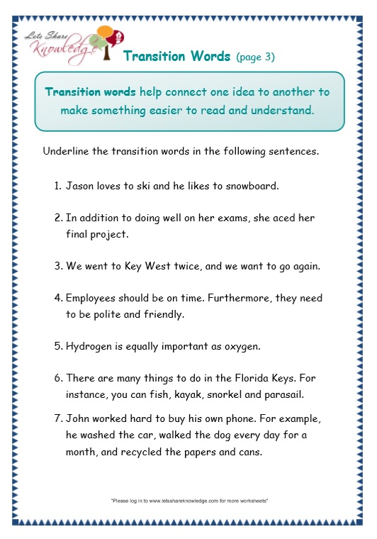 page 3 transitions worksheet