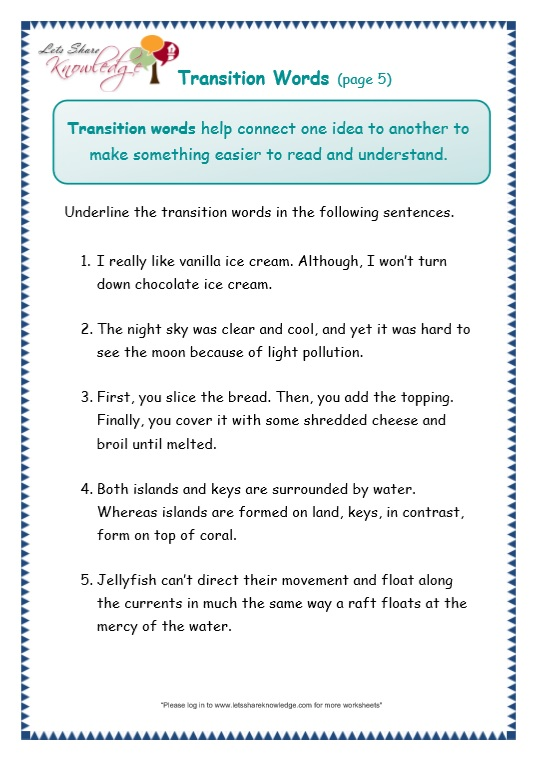 page 5 transitions worksheet