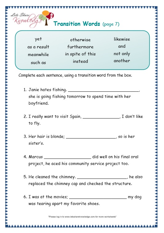 page 7 transitions worksheet