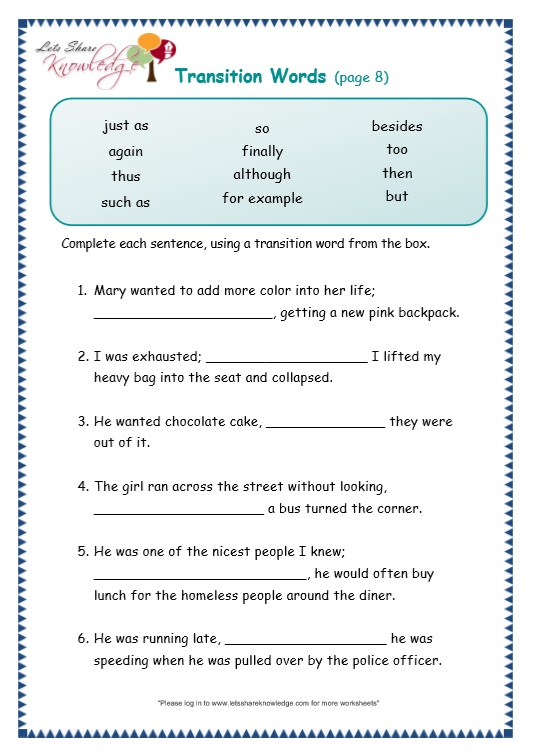 page 8 transitions worksheet