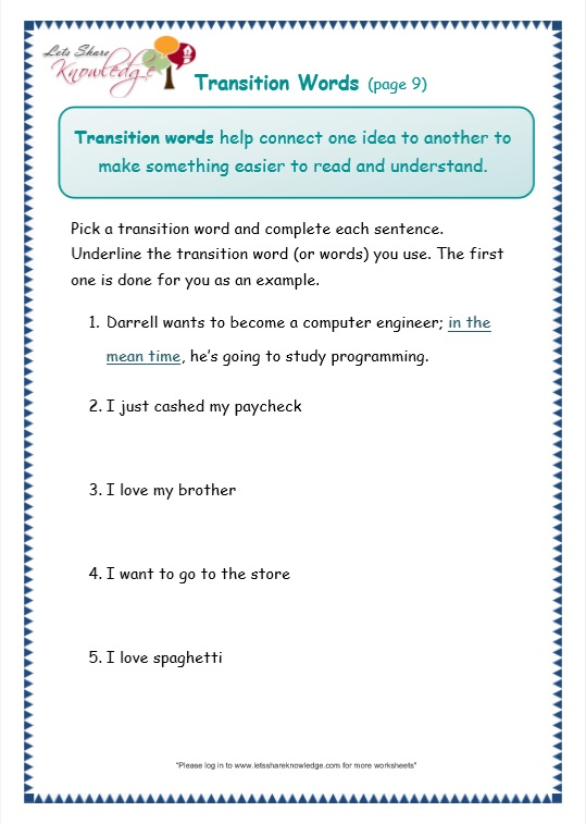 page 9 transitions worksheet