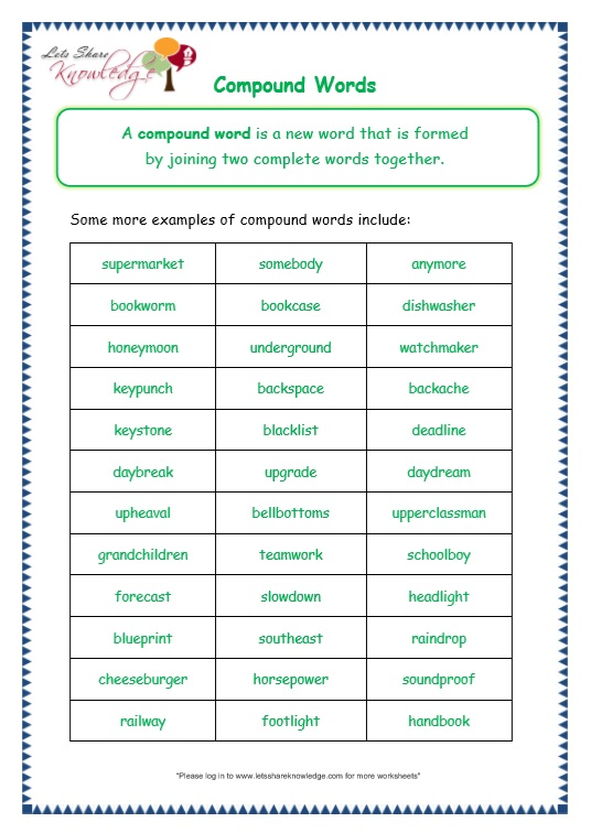 compound words worksheet grade 3 pdf