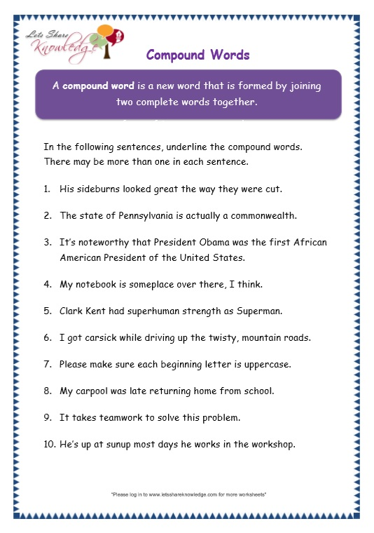 Grade 3 Grammar Topic 20 Compound Words Worksheets Lets Share – Teamwork Worksheets