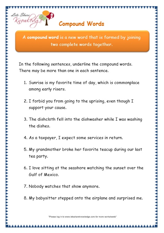 page 4 compound words worksheet