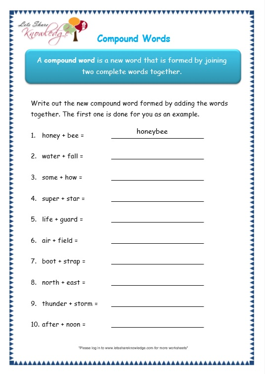 page 5 compound words worksheet