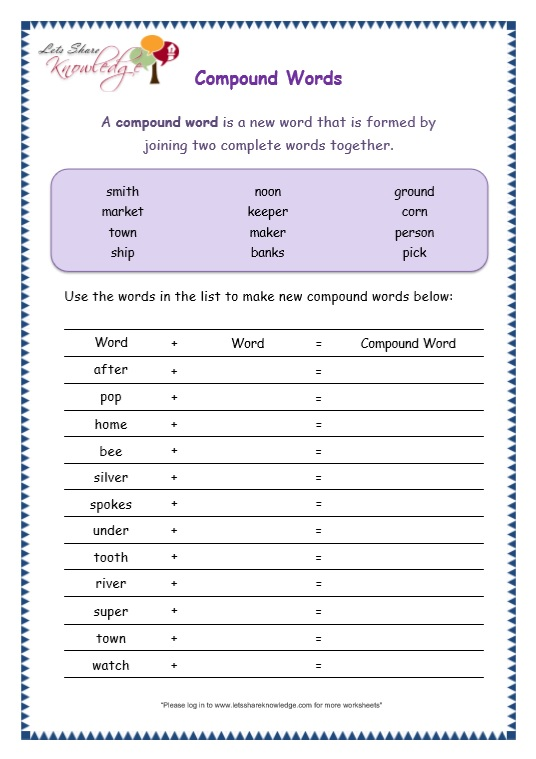 page 6 compound words worksheet