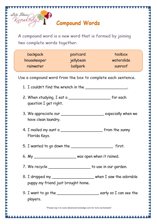 Compound Words Worksheet Grade 5: grade 3 grammar topic 20 pound words worksheets lets share ,
