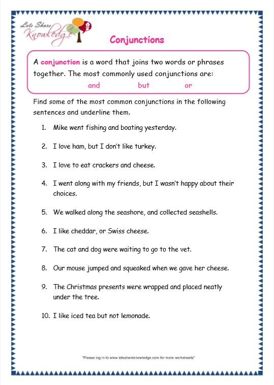 Grade 3 Grammar Topic 19: Conjunctions Worksheets - Lets Share ...