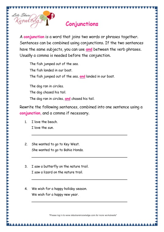 page 3 conjunctions worksheet