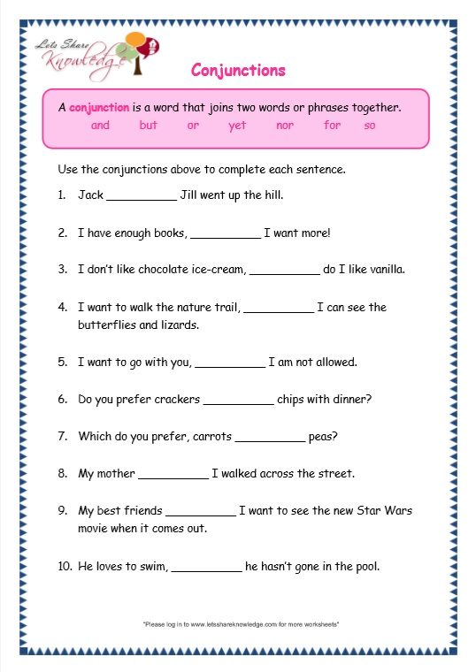 Worksheets On Conjunctions For Grade 7 : ABITLIKETHIS