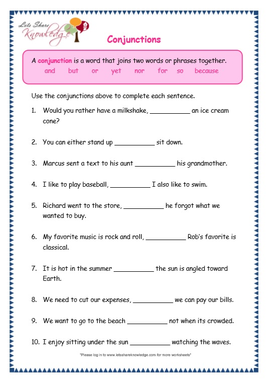 page 6 conjunctions worksheet