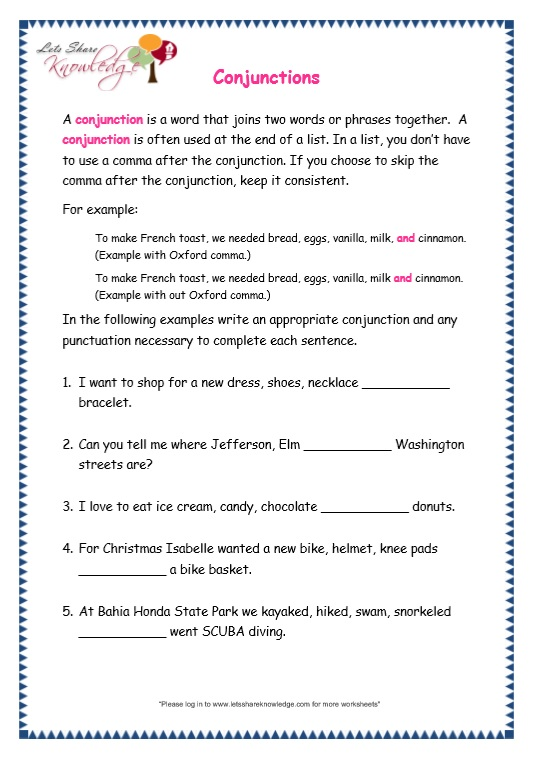 Conjunctions worksheets with answers for grade 7
