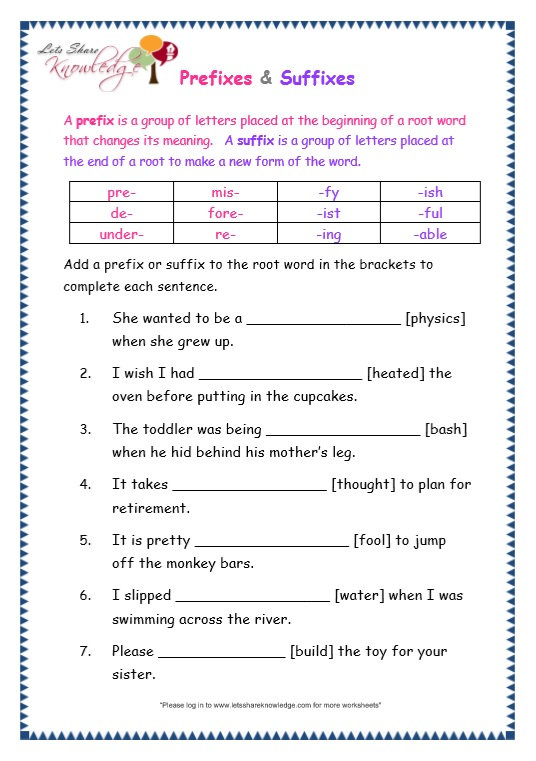 page 8 prefix and suffix worksheet