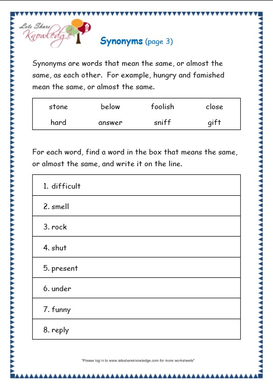 page 3 synonyms worksheet