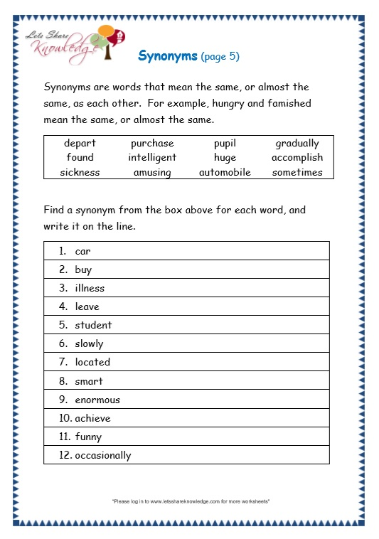page 5 synonyms worksheet