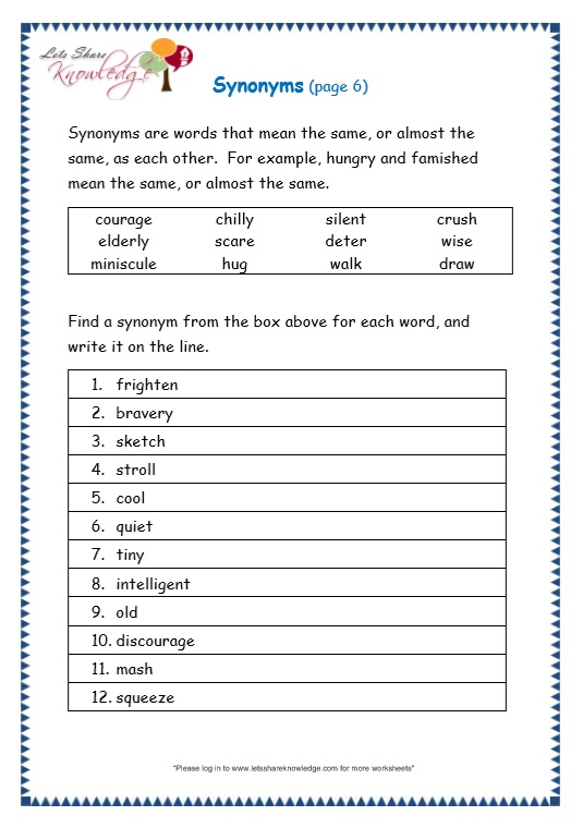 grade 3 grammar topic 27 synonyms worksheets lets share knowledge. Black Bedroom Furniture Sets. Home Design Ideas