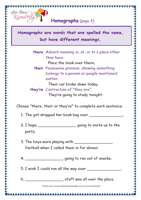 Grade 3 Grammar Topic 26 There Their Theyre Worksheets Lets – There Their and They Re Worksheet