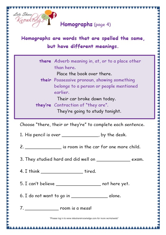 page 4 there, their, they're worksheet
