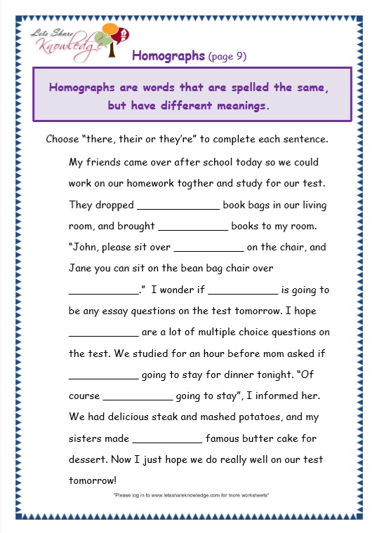 page 9 there, their, they're worksheet