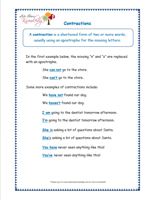 page 1 contractions worksheet