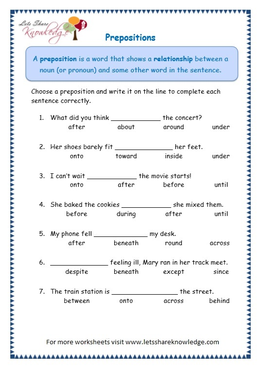 math worksheet : grade 3 grammar topic 17 prepositions worksheets lets ...