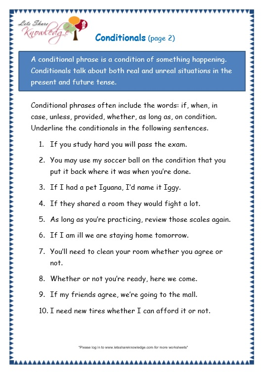 page 2 conditionals worksheet