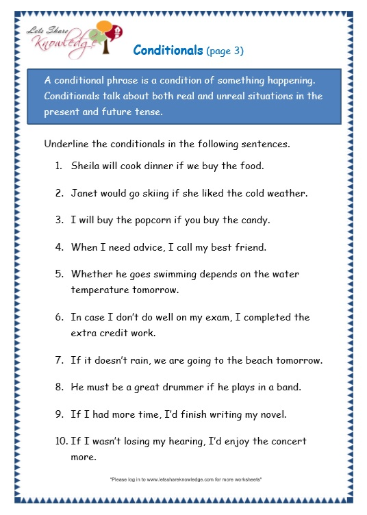 page 3 conditionals worksheet