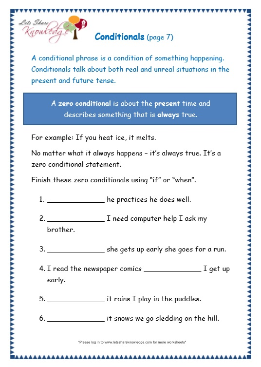 page 7 conditionals worksheet