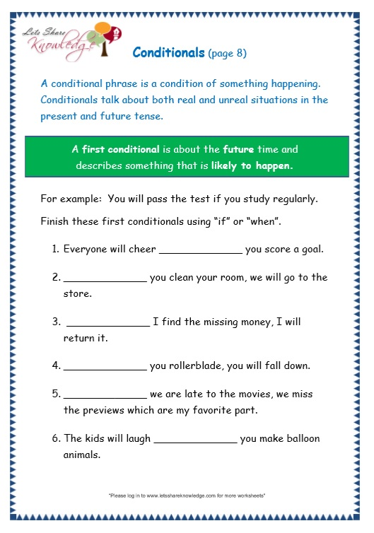page 8 conditionals worksheet