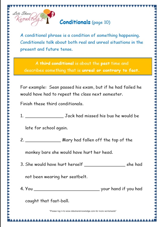 page 10 conditionals worksheet