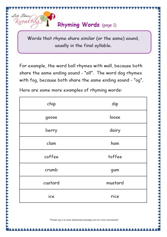 Grade 3 Grammar Topic 32 Rhyming Worksheets Lets Share Knowledge. Page 1 Rhyming Words. Worksheet. Rhyme Worksheet At Clickcart.co
