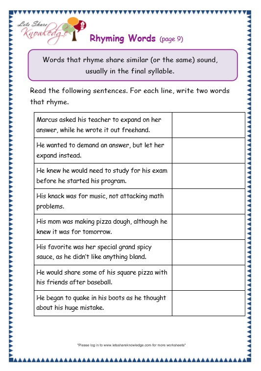 Grade 3 Grammar Topic 32: Rhyming Worksheets - Lets Share Knowledge