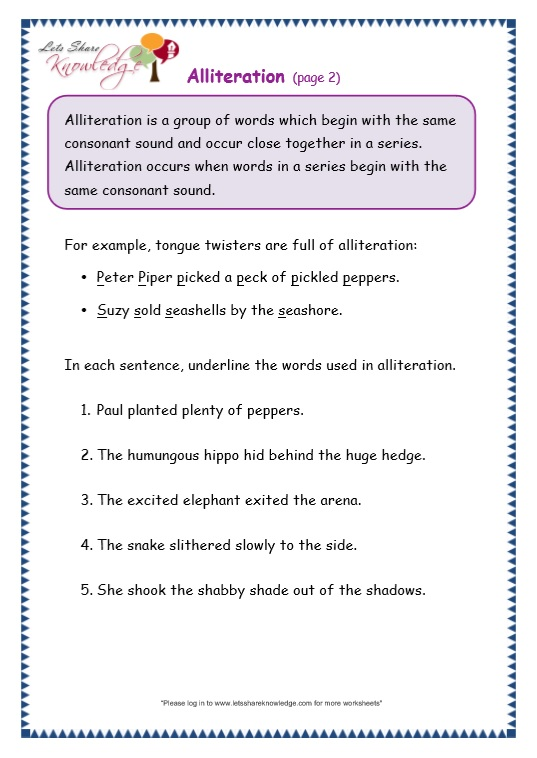 Printables Alliteration Worksheets grade 3 grammar topic 33 alliteration worksheets lets share page 2 worksheet