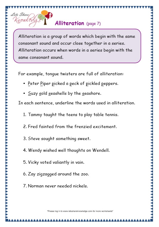 Worksheet Alliteration Worksheets grade 3 grammar topic 33 alliteration worksheets lets share page 7 worksheet
