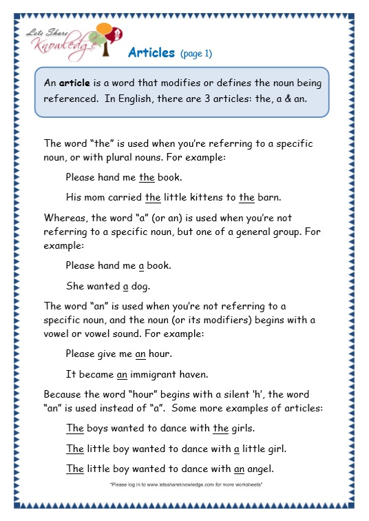 Grade 3 Grammar Topic 34 Articles Worksheets Lets Share Knowledge. Page 1 Articles. Worksheet. A An Worksheets At Mspartners.co
