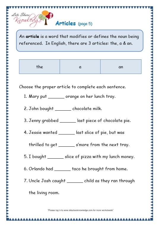 Articles Worksheet For Grade 3 - Laptuoso