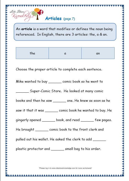 Grade 3 Grammar Topic 34: Articles Worksheets - Lets Share Knowledge