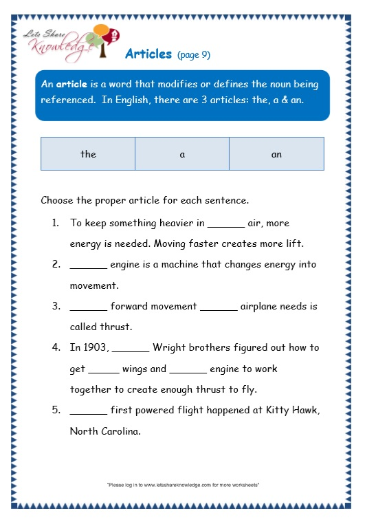 articles worksheet