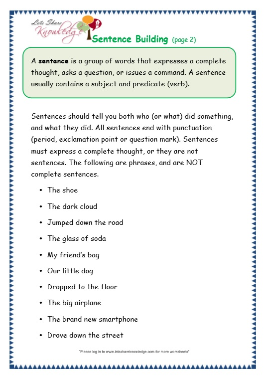 Grade 3 Grammar Topic 35 Sentence Building Worksheets Lets – Writing Complete Sentences Worksheets